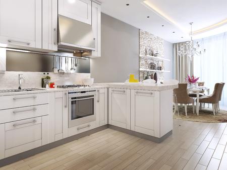 Photo pour kitchen diner in neoclassical style, 3d images - image libre de droit