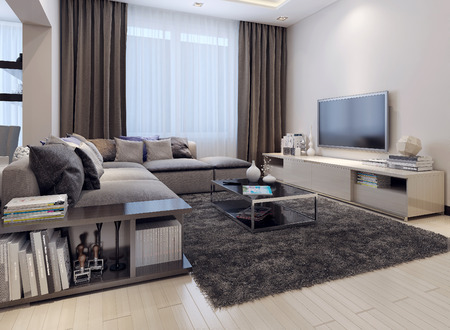 Photo pour Living room contemporary style, 3D images - image libre de droit