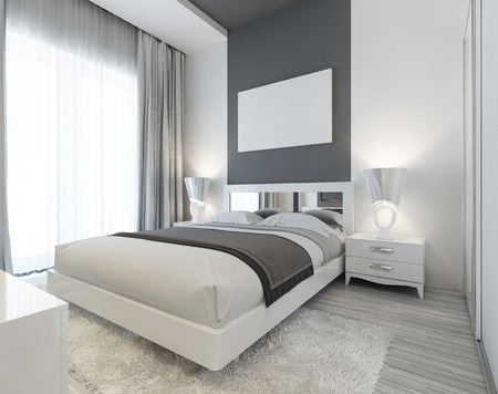Foto de Bedroom in Art Deco style in white and gray colors. Modern carefully the laid bed with bedside tables and night lamps. Mockup poster on the wall. 3D render. - Imagen libre de derechos
