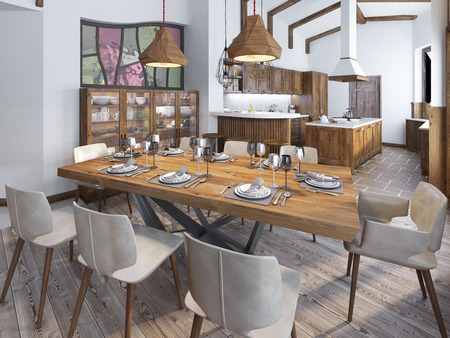 Photo for Modern kitchen and dining room in the loft. Kitchen furniture made of solid wood. High ceilings with exposed beams. Ceramic tiles on the floor. Beautifully Serving Table. 3D render. - Royalty Free Image