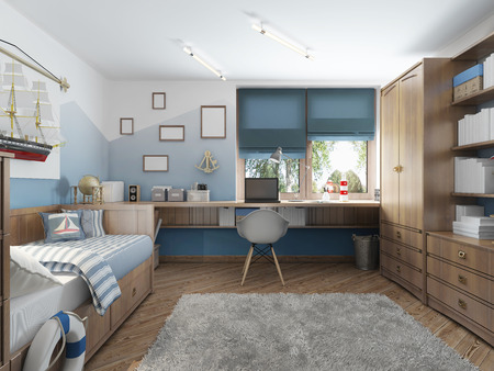 Photo pour Modern children's room for a teenager in a nautical style with furniture decoration under the captain's cabin. 3D render. - image libre de droit