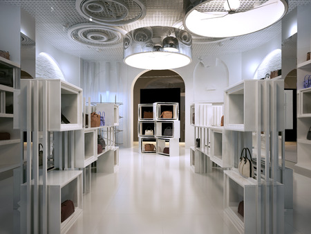 Photo for Luxury store interior design art deco style with hints of Contemporary. Interior white store with lots of shelves. Shop for the sale of bags on the shelves of handbags. 3D render. - Royalty Free Image