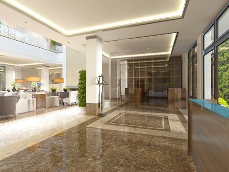 Foto de Modern design lobby with reception area and decorative statues. 3D render. - Imagen libre de derechos