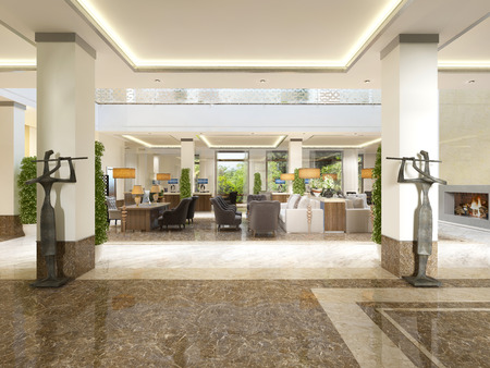 Foto de Modern design lobby with reception area and decorative statues. 3D render. - Imagen libre de derechos