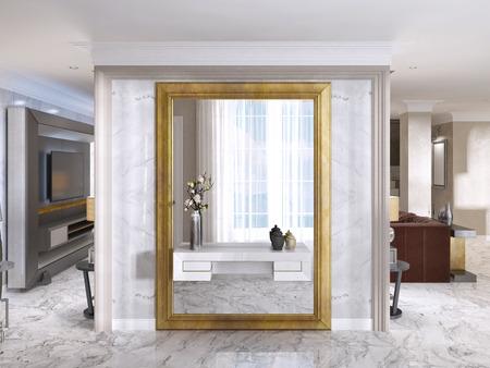 Foto de Luxurious Art-Deco entrance hall with a large designer mirror in gold frame and built-in console decor. 3D render. - Imagen libre de derechos