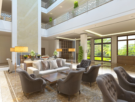 Photo pour The interior design of the lounge area with a fireplace in a luxurious building of the hotel. The waiting area at the hotel. 3D render. - image libre de droit