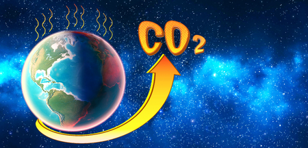 Photo for The level of CO2 in the planet atmosphere rises and exceeds the norm. 3D render. - Royalty Free Image
