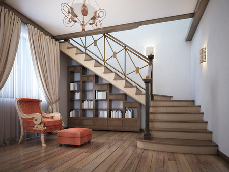 Photo pour Library under the stairs with a red armchair in the English style. 3D rendering. - image libre de droit