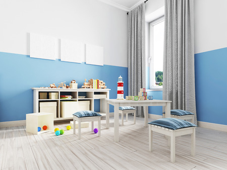 Foto de Boy s bedroom interior with a white wall, like bed, cabinet, framed poster and toys. 3d rendering - Imagen libre de derechos