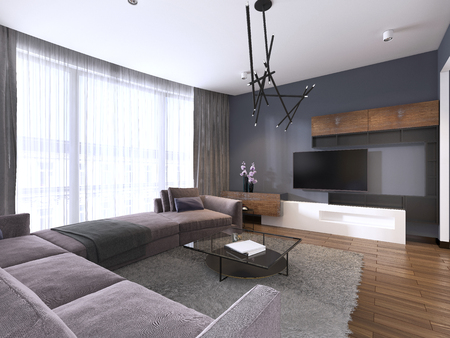 Photo for TV unit in contemporary living room with corner fabric big sofa and windows with tulle. 3d rendering - Royalty Free Image