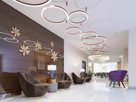 Photo pour Lounge area of a hotel, club, company lobby. Fragment of the modern lobby of the five stars hotel. 3D rendering - image libre de droit