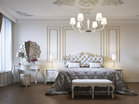 Photo pour Luxurious bedroom with bed and bedside tables and dressing table. Concept interior, home, comfort, hotel. 3d rendering - image libre de droit
