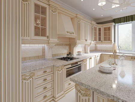 Photo pour Classical wooden kitchen with wooden details, beige luxury interior design, 3d rendering - image libre de droit