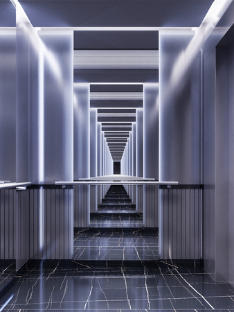 Photo pour Futuristic design of an elevator cabin with mirrors with neon illumination and metal panels. Modern elevator design. Reflection to infinity. 3d rendering - image libre de droit