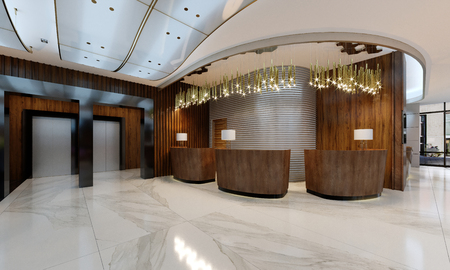 Foto de Reception area in a modern hotel with wooden reception counters and large pendant gilded chandeliers. 3d rendering. - Imagen libre de derechos