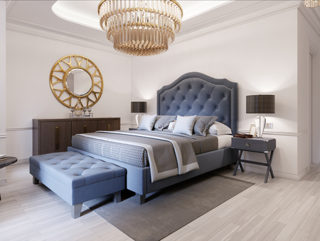 Photo pour Modern bed in classic blue style with bedside table and lamp. Large glass chandelier over. A dresser with a decor and a golden mirror above. Modern bedroom. 3d rendering. - image libre de droit