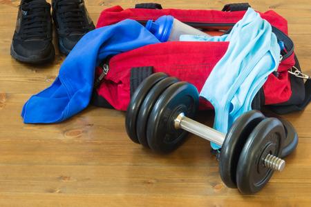 Men's sports bag with stuff inside