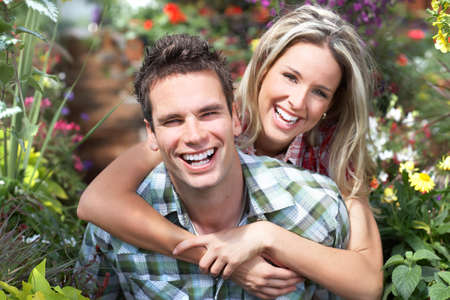 Young  happy smiling couple in love
