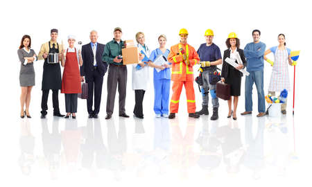 Large group of workers people. Isolated over white background.