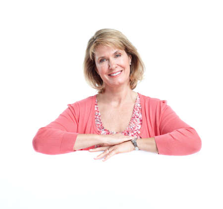 Photo for Senior woman. Isolated over white background. - Royalty Free Image