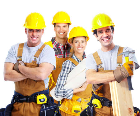 Photo for Industrial contractors workers people. Isolated over white background - Royalty Free Image