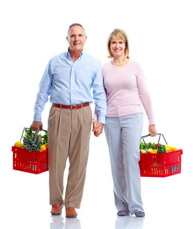 Grocery. Couple with a shopping basket.