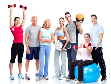 Photo for Gym and Fitness. Smiling people. - Royalty Free Image