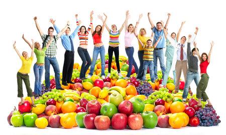 Photo pour Group of happy people with fruits. - image libre de droit
