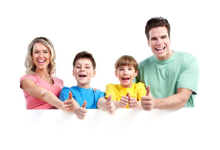 Photo pour Happy family with banner. - image libre de droit