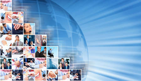 Business people collage background