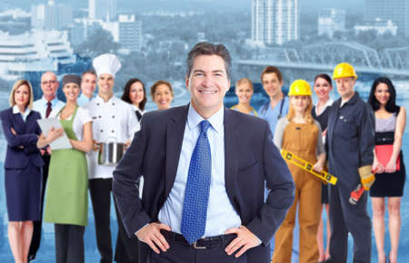 Photo for Businessman and Group of industrial workers  - Royalty Free Image