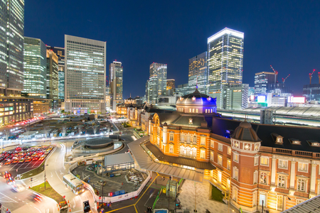 Photo pour Night view of Tokyo station - image libre de droit