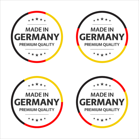 Illustration pour Set of four German icons, English title Made in Germany, premium quality stickers and symbols, simple vector illustration isolated on white background - image libre de droit