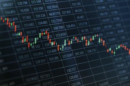 Foto de Candlestick graph overlaid on a black spreadsheet with random numerical data as a conceptual art for stock market situations - Imagen libre de derechos