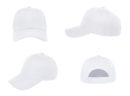 Photo for Blank white baseball cap 4 view on white background - Royalty Free Image