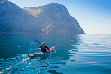 Photo for Kayak. People kayaking in the sea. Leisure activities on the calm blue water. - Royalty Free Image