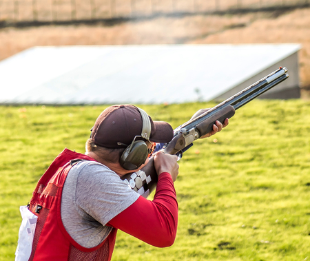 Photo for The sportsman with a gun - Royalty Free Image