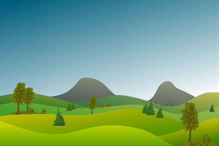 Illustration for Vector flat landscape with green hills and trees and blue bright sky. - Royalty Free Image