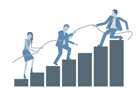 Illustration pour Business flat design vector growing chart with a leader helping colleagues to climb on top. - image libre de droit