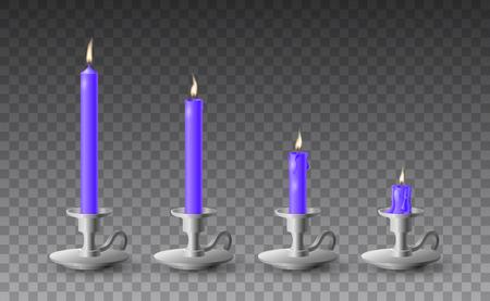 Illustration pour Beautiful vector set of gradually burned realistic purple candles on metal candlesticks on transparent background. - image libre de droit