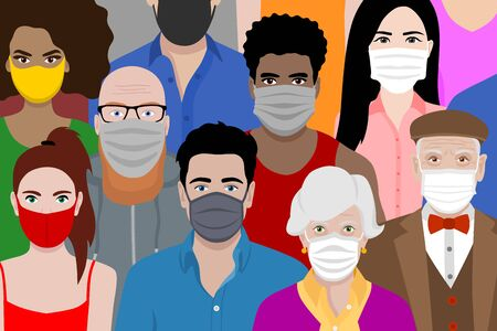 Illustrazione per Beautiful background with multicultural cartoon people wearing face masks. Covid 19 safety measures. Protection against coronavirus. - Immagini Royalty Free