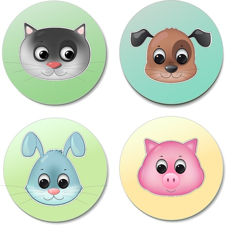 vector icon set of different cute animal faces smiling like pig dog cat rabbit