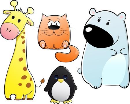 vector sticker set of different cute animals like giraffe cat bear penguin isolated on white background