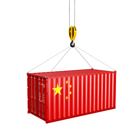 Photo pour Cargo shipping container with the Chinese flag Ð¡oncept of delivery from China on white background 3d - image libre de droit