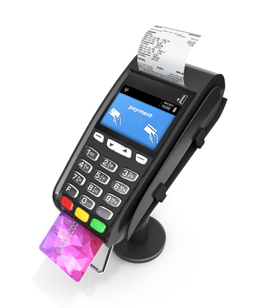 Photo pour Card payment terminal POS terminal with credit card and receipt isolated on white background 3d render - image libre de droit