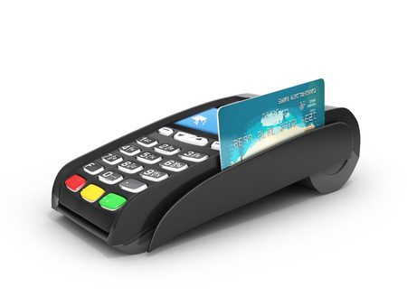 Photo for card payment terminal POS terminal with credit card isolated on white background 3d render - Royalty Free Image