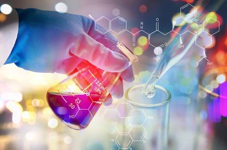 Photo pour Double exposure of scientist hand holding laboratory test tube - image libre de droit