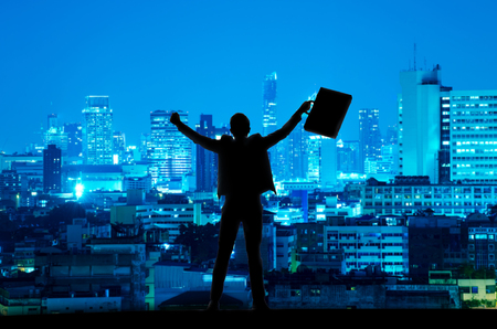 Photo pour silhouette of businessman with document bag in hand raise arms up because success in business - image libre de droit
