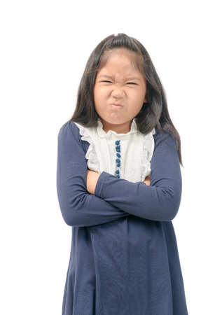Photo pour Kid gesture smells bad. Portrait of girl disgust something stinks bad smell situation - image libre de droit