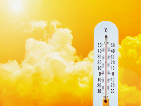 Photo for thermometer in the sky, hot temperature - Royalty Free Image